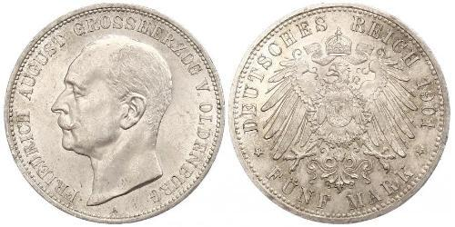 5 Mark 奥尔登堡大公国 (1814 - 1918) 銀 弗里德里希·奥古斯特三世 (萨克森国王)
