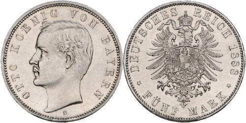 5 Mark 巴伐利亞王國 (1806 - 1918) 銀 奥托 (巴伐利亚国王)