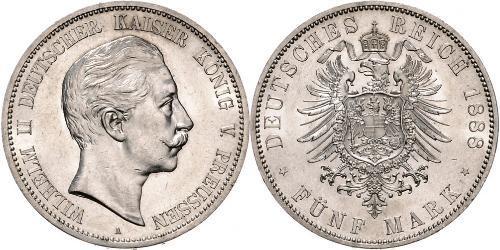 5 Mark 普魯士王國 (1701 - 1918) 銀 威廉二世 (德国)