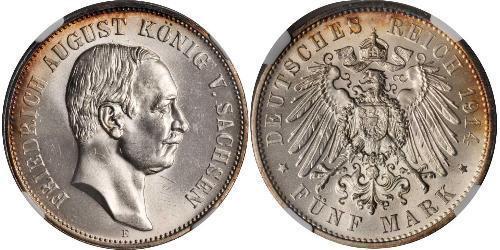 5 Mark 萨克森王国 (1806 - 1918) 銀 弗里德里希·奥古斯特三世 (萨克森国王)