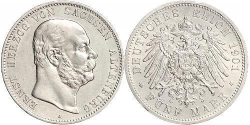 5 Mark 萨克森-阿尔滕堡  (1826 - 1920) 銀 Ernst I, Duke of Saxe-Altenburg (1826 - 1908)