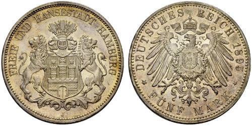 5 Mark Empire allemand (1871-1918) / Hambourg Argent