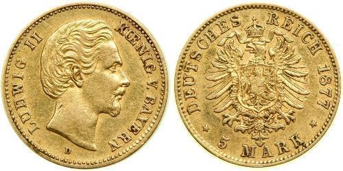 5 Mark Royaume de Bavière (1806 - 1918) Or Louis II de Bavière (1845-1886)(1845 – 1886)