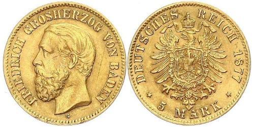 5 Mark Gran Ducado de Baden (1806-1918) Oro Federico I de Baden (1826 - 1907)
