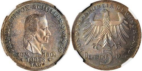 5 Mark Alemania Occidental (1949-1990) Plata Friedrich Schiller