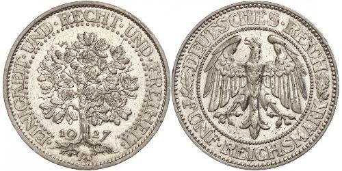 5 Mark Alemania / República de Weimar (1918-1933) Plata