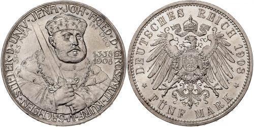 5 Mark Ducado de Sajonia-Weimar-Eisenach (1809 - 1918) Plata