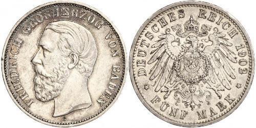 5 Mark Gran Ducado de Baden (1806-1918) Plata Federico I de Baden (1826 - 1907)