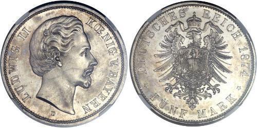 5 Mark Reino de Baviera (1806 - 1918) Plata Luis II de Baviera(1845 – 1886)
