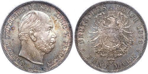 5 Mark Reino de Prusia (1701-1918) Plata Wilhelm I, German Emperor (1797-1888)