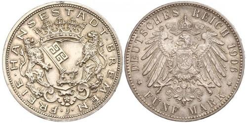 5 Mark Freie Hansestadt Bremen Silber