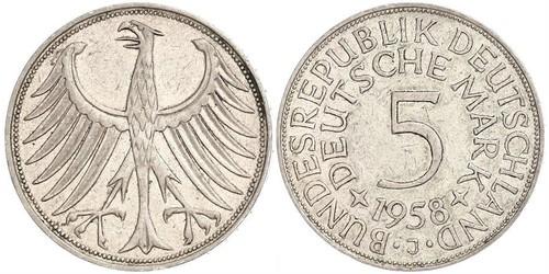 5 Mark Geschichte der Bundesrepublik Deutschland (1949-1990) Silber