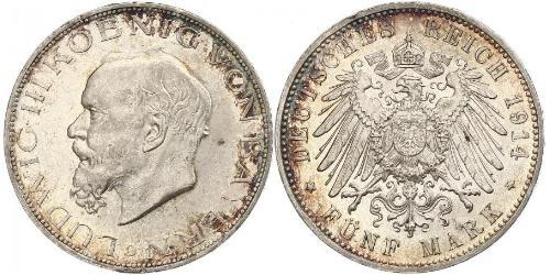 5 Mark Königreich Bayern (1806 - 1918) Silber Ludwig III. (Bayern) (1845 – 1921)