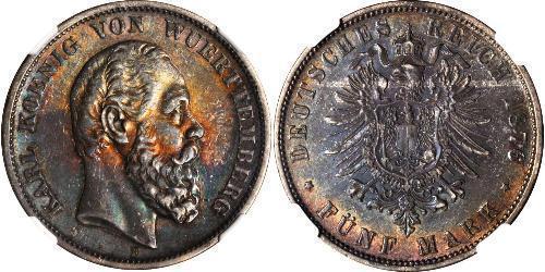 5 Mark Königreich Württemberg (1806-1918) Silber Karl (Württemberg)