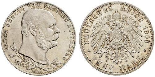 5 Mark Duchy of Saxe-Altenburg (1826 - 1920) Silver Ernst I, Duke of Saxe-Altenburg (1826 - 1908)