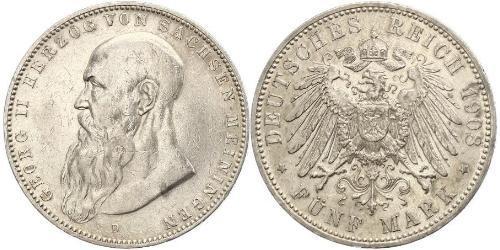 5 Mark Duchy of Saxe-Meiningen (1680 - 1918) Silver Georg II, Duke of Saxe-Meiningen