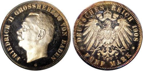 5 Mark Grand Duchy of Baden (1806-1918) Silver Frederick II, Grand Duke of Baden (1857 - 1928)