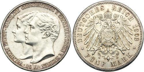 5 Mark Grand Duchy of Saxe-Weimar-Eisenach (1809 - 1918) Silver William Ernest, Grand Duke of Saxe-Weimar-Eisenach