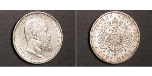 5 Mark Kingdom of Württemberg (1806-1918) Silver Wilhelm II, German Emperor (1859-1941)