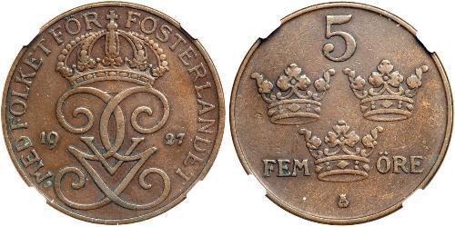 5 Ore Suecia Acero/Bronce Gustavo V de Suecia (1858 - 1950)