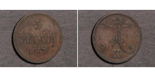 5 Penny Gran Ducado de Finlandia (1809 - 1917)  Alejandro II (1818-1881)