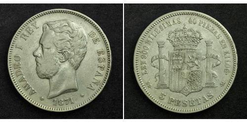 5 Peseta Kingdom of Spain (1814 - 1873) Argent