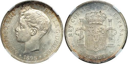5 Peseta Kingdom of Spain (1874 - 1931) Argent