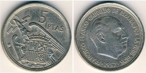 5 Peseta Francoist Spain (1936 - 1975) Kupfer/Nickel