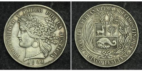 5 Peseta Peru Silber