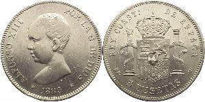 5 Peseta Spain Silver Alfonso XIII of Spain (1886 - 1941)