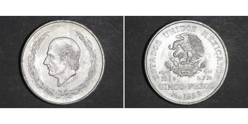 5 Peso Second Federal Republic of Mexico (1846 - 1863) 銀 Miguel Hidalgo