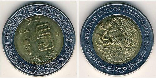 5 Peso Messico (1867 - ) Bimetal