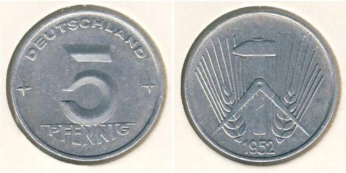 5 Pfennig Repubblica Democratica Tedesca (1949-1990) Alluminio