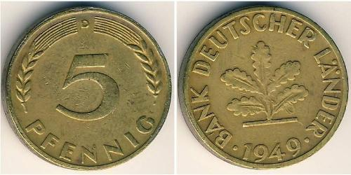 5 Pfennig Germania Ovest (1949-1990) Ottone