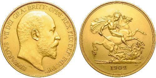5 Pound 大不列颠及爱尔兰联合王国 (1801 - 1922) 金 爱德华七世 (1841-1910)
