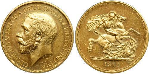 5 Pound 大不列颠及爱尔兰联合王国 (1801 - 1922) 金 乔治五世  (1865-1936)