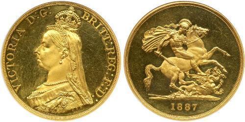 5 Pound Regno Unito di Gran Bretagna e Irlanda (1801-1922) / Impero britannico (1497 - 1949) Oro Vittoria (1819 - 1901)