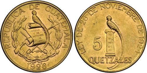 5 Quetzal Republic of Guatemala (1838 - ) Gold