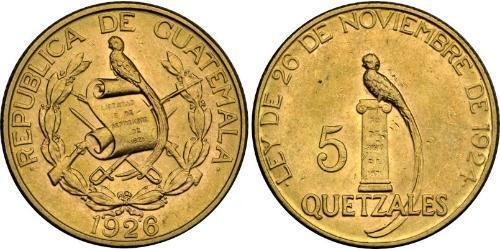 5 Quetzal Guatemala (1838 - ) Oro