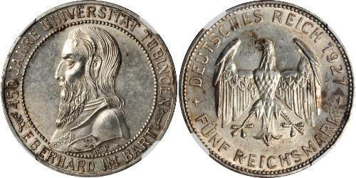 5 Reichsmark Веймарская республика (1918-1933) Серебро