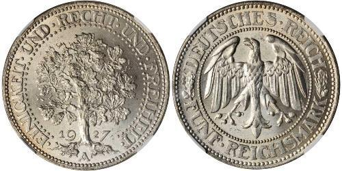 5 Reichsmark Веймарська республіка (1918-1933) Срібло