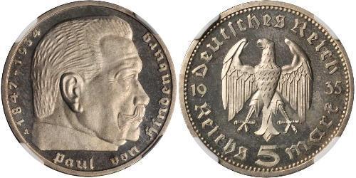 5 Reichsmark Troisième Reich (1933-1945) Argent Paul von Hindenburg