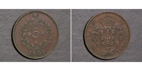 5 Reis Azzorre / Regno del Portogallo (1139-1910) Rame