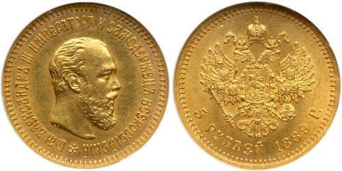 5 Ruble 俄罗斯帝国 (1721 - 1917) 金 亚历山大三世 (俄国) (1845 -1894)