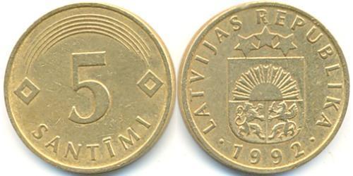 5 Santims Латвия (1991 - ) Сталь/Медь