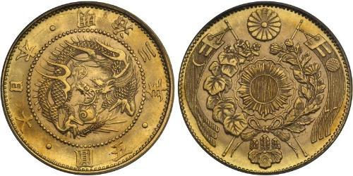 5 Yen Impero giapponese (1868-1947) Oro Meiji the Great (1852 - 1912)