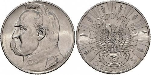 5 Zloty Deuxième République de Pologne (1918 - 1939) Argent Józef Piłsudski