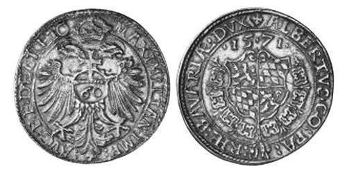60 Kreuzer Duchy of Bavaria (907 - 1623) Silver Albert V, Duke of Bavaria (1528 – 1579)