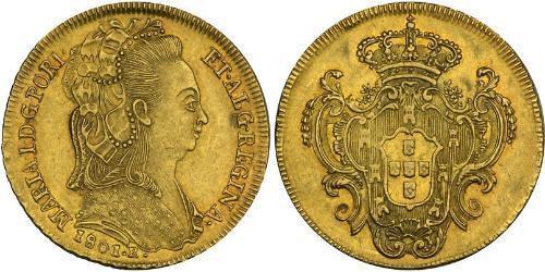 6400 Рейс Бразилія / Королівство Португалія (1139-1910) Золото Мария I королева Португалії (1734-1816)