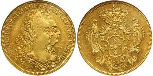 6400 Reis Brasile Oro Pietro III del Portogallo (1717-1786)